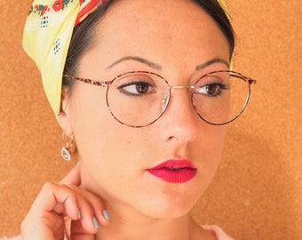 Vintage Eyeglass Frames 1990s Glasses Semi Round Shaped New Old Stock Multi Color Eyeglasses Made In Hong Kong