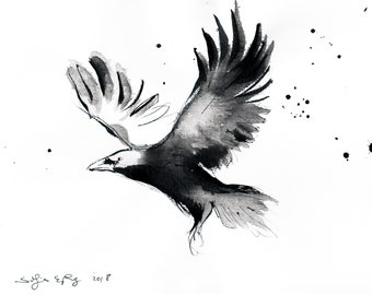 Crow art - Ink on 8x12in canvas, A4, 21x30cm - abstract flying crow 4