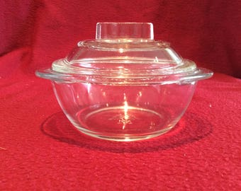 "Pyrex JAJ Clear Glass 8oz Dish with lid 4 1/4"" diameter circa 1950"