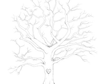 Hand Drawn Fingerprint Tree