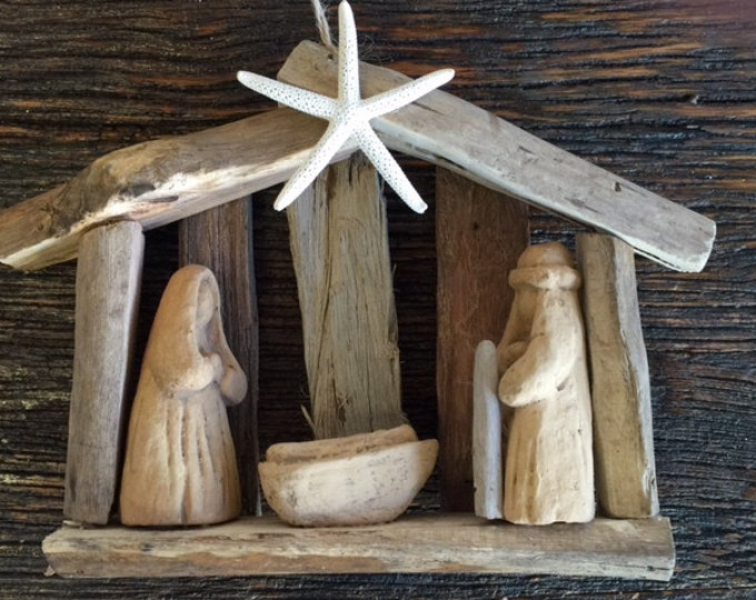 Coastal decor ORIGINAL OBX driftwood tree ornament wood nativity creche manger baby Jesus Outer Banks Christmas ornament BeachHouseDreams