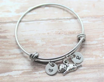 Cat Bracelet - Cat Mom Cat Themed Gifts - Cat Charm Bracelet - Cat Bangle Bracelet - Personalized Silver Cat Paw Print Bracelet - Cat Lover