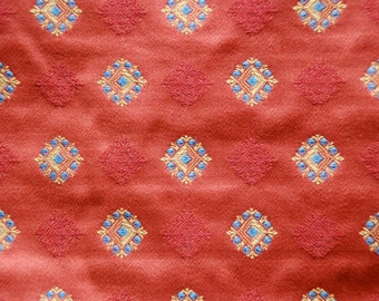 Red Diamond Fabric - Blue and Yellow Gold Diamond - Upholstery Fabric By The Yard