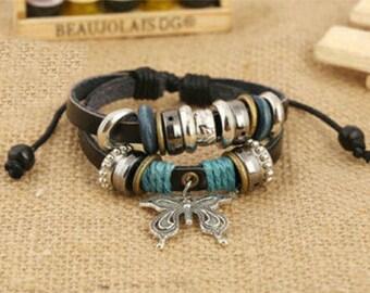 Butterfly Leather Bracelet