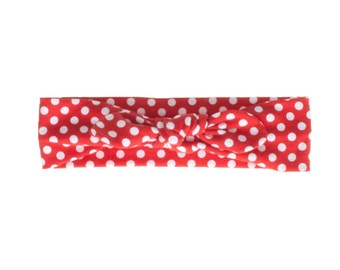 Baby Headband, Toddler Headband, Adult Headband, Baby Girl Headband, Top Knot Headband, Bow Headband, Red and White Polka Dot Headband