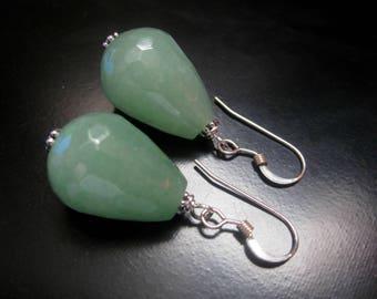 Green Jade Teardrop Earrings, Faceted Green Jade Teardrops, Sterling Silver, Green Jade Jewelry, Teardrop Earrings, 18mm Green Earrings
