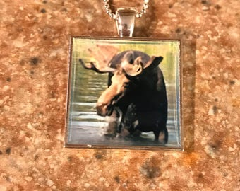 Moose Pendant Necklace, Moose Necklace,  Moose Pendant on sterling Ball Chain