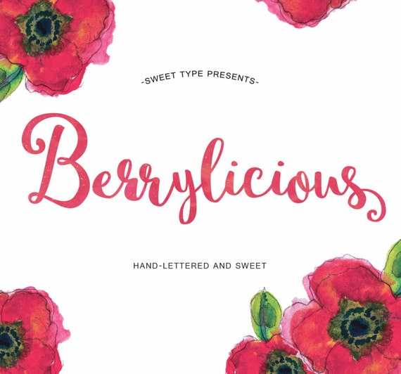 Berrylicious Hand Drawn Font Lettered Cursive Brush