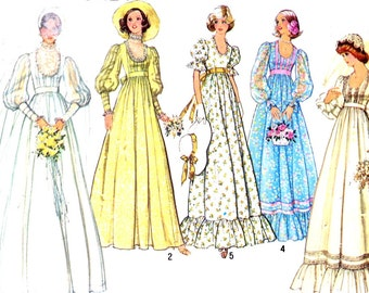 70s Wedding gown 70s Bridesmaid dress vintage sewing pattern Simplicity 7389 Bust 32 UNCUT