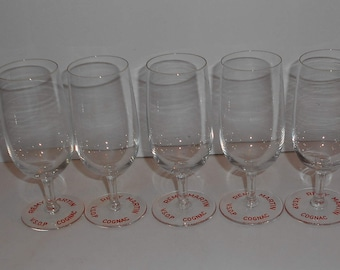 Set of 5 crystal glasses, Baccarat COGNAC Remy Martin, marked, 1950's