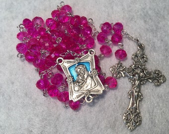 Bright Pink 7mm glass rosary