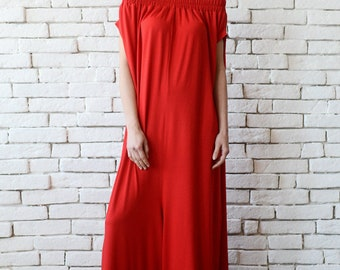 NEW Plus Size Red Jumpsuit/Oversize Long Overall/Casual Red Maxi Romper/Casual Loose Long Jumpsuit/Wide Leg Jumpsuit/Long Red Jumpsuit Pants