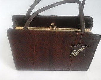 Lovely McClaren Of Norwich Croc Faux Leather Hand Bag - 1950's