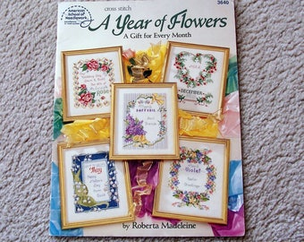 Cross Stitch Booklet, A Year of Flowers, Roberta Madeleine