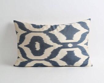 Blue Ikat Pillow Cover, Throw Pillow, Accent Pillow, handwoven modern pillow, silk ikat pillow