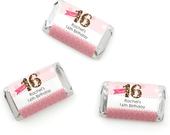 Sweet 16 Mini Candy Bar Wrappers - Personalized Birthday Party Hershey® Miniature Candy Bar Sticker Labels - Birthday Favors - 20 Ct