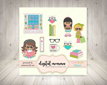 50% OFF SALE! Books, Reading, Library, I Love Books Clipart Set, Personal & Commercial Use, Instant Download!