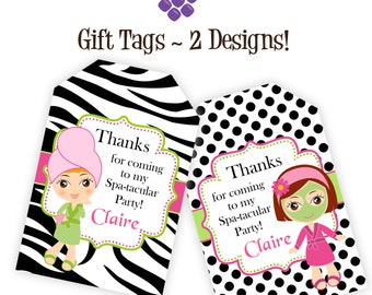 Spa Party Gift Tags - Hot Pink, Lime, Zebra Print, Black White Polka Dots, Spa Personalized Birthday Party Gift Tag - Digital Printable File