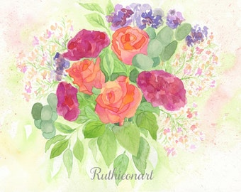 Roses and Carnations Floral Watercolor Print