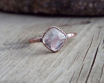 Rainbow Moonstone Electroformed Ring // Copper Electroformed Ring US Size 7 1/2