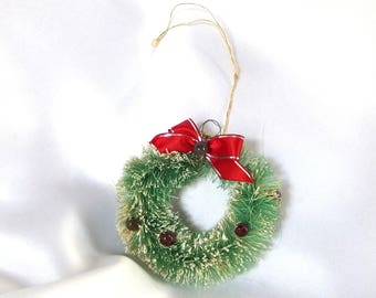 Bottlebrush Wreath Ornament - Vintage Green Bottle Brush Wreath with Glass Beads
