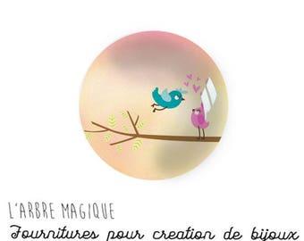 Cabochon stuck Theme bird branch heart glass 25 mm - ref 701