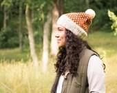 Knitted Fair Isle Hat, Chunky Wool Knit Hat, Women's Pom Pom Hat, Winter Hat, Fall Fashion, Winter Accessories, Woodland Hat, Ski Hat