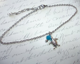 Turtle anklet or bracelet with blue crystal