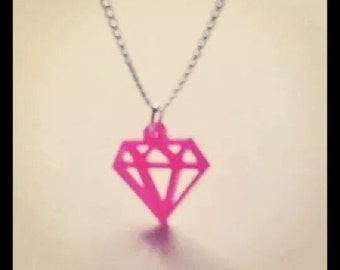 Small Silver Mirror or Hot Pink Diamond Shape Acrylic Necklace