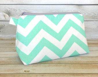 Mint Green Chevron Cosmetic Bag Zipper Pouch Makeup Bag, Makeup Zipper Pouch, Cosmetic Pouch Pencil Pouch
