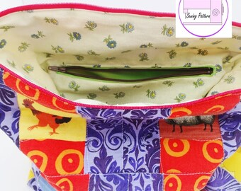 Zipper pocket tutorial,zip instructions,zip how to,inserting a zip,zip pouch pattern,tote bag pattern,seamstress gift,how to sew a zipper