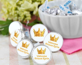 108 Welcome Prince Hershey Kiss® Stickers - Hershey Kiss Stickers Baby - Personalized Hershey Kiss Labels - Hershey Kiss Seals