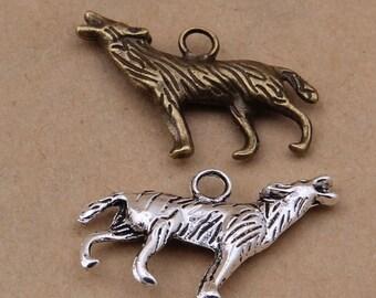 Bulk Lot Howling Snow Wolf Werewolf Coyote Metal Alloy Charm Pendant Jewelry Making DIY Bracelet Necklace Earrings