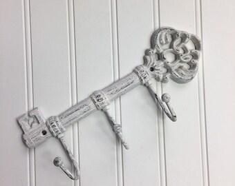 Cast Iron Painted Key Holder Skeleton Key Holder White Cottage Shabby Chic Mudroom Kitchen