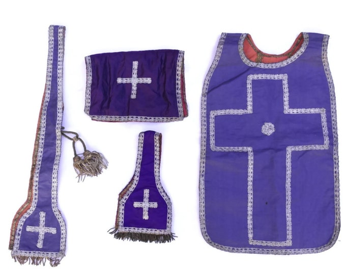 Antique French Priests liturgical Vestments. 19th Century Priests Chastuble. Antique Embroidered Church Garments. Purple Vestments.