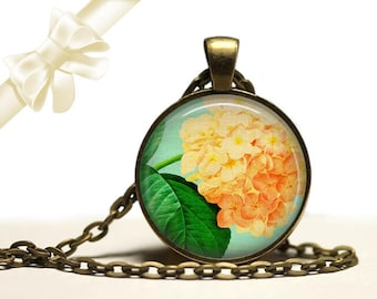 Hydrangea Necklace brass Pendant Necklace Free Shipping Gifts for her