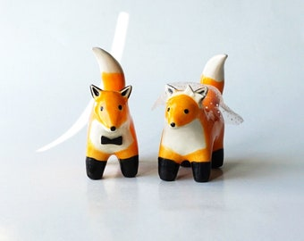 Handmade Ceramic Fox Couple Cake Toppers