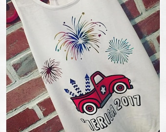 Red Truck Firework 2018 Tank or Tee