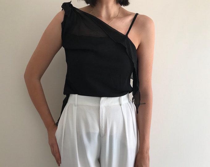 90s Versatile Asymmetrical Tulle Top