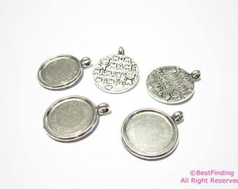 Stamped disc charms 24mm Round disc necklace pendant  -10pcs