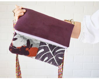 Purple Aubergine Monstera macrosuede Fold-over Cross body bag. Textile Art Collage Front Pocket. Long Adjustable strap. Upcycled Chic Boho