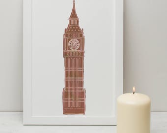 Illustrated Print of London Big Ben