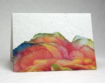 Ranunculus Print Wildflower Seed Paper Handmade Blank Recycled Card