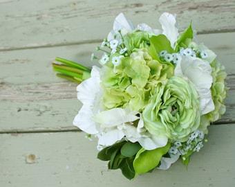 Green Real Touch Bouquet (Ranunculus, Calla Lilies, Succulents, Hydrangea, Gladiolas), Summer Wedding, Spring Wedding
