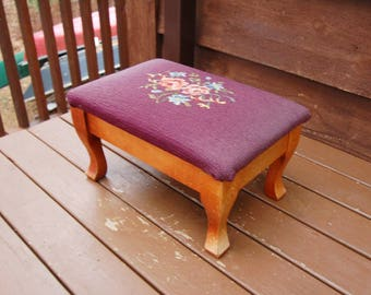 Needlepoint Foot Rest, Vintage Needlepoint And Wooden Foot Stool, Purple  Floral Needlepoint Seat