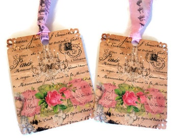 8 Beautiful Floral Print Paris Gift Tags, Roses Chandelier French Writing Postmarked, Party Favor Tags, Hang Tags, Takuniquedesigns