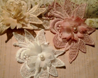 3 Hand Dyed -Lilly Flower appliques