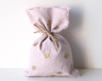 Gold Sparkle Polka dot Calico favour bags, pink and god party bags, gold polka dot bags, sparkle favour bags x 10
