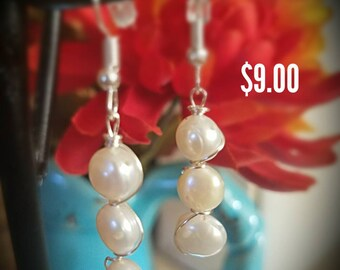 Wire Wrap Fresh Water Pearl Earrings