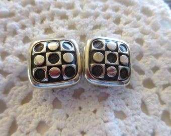 Vintage ZINA Clip On Earrings Sterling Silver Modernist Retro Square Dot Beverly Hills Designer 925 Jewelry